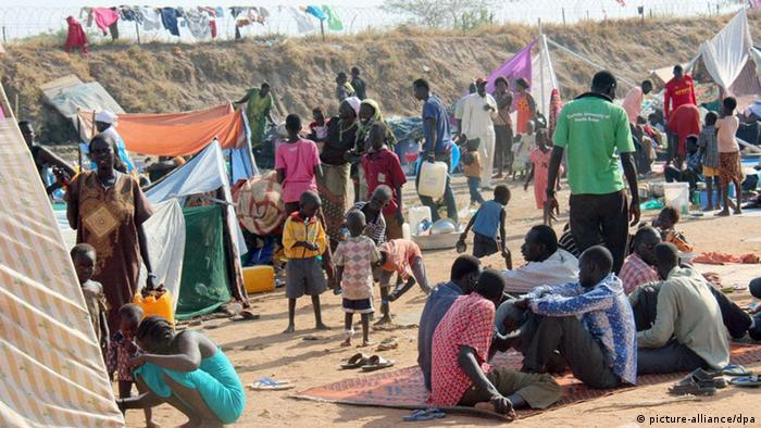 Refugees at the United Nations base near Juba international airport.