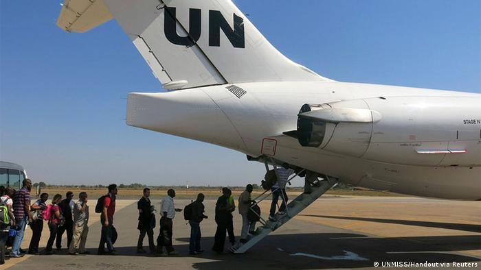 A UN plane with people going in for evacuation in South Sudan.