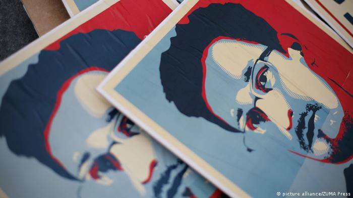 Images of Snowden on several identical posters, taken during a July 2013 German demonstration against NSA espionage.
