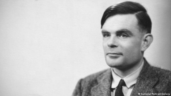 Archive black and white photo of British computer scientist Alan Turing (National Portrait Gallery)