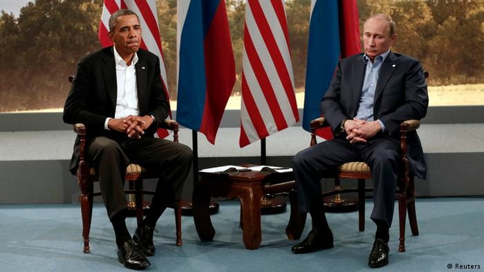 Obama and Putin at G8 in Northern Ireland, 2013
