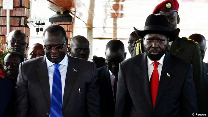 South Sudanese president Salva Kiir (right) with former vice-president Riek Machar (left).