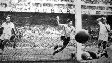 WM 1950 Brasilien Uruguay Tor vom Spieler Ghiggia aus Uruguay