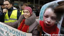 Pro-europäische Proteste in Kiew, Ukraine, nach Überfall auf Journalistin Tetjana Chornovol