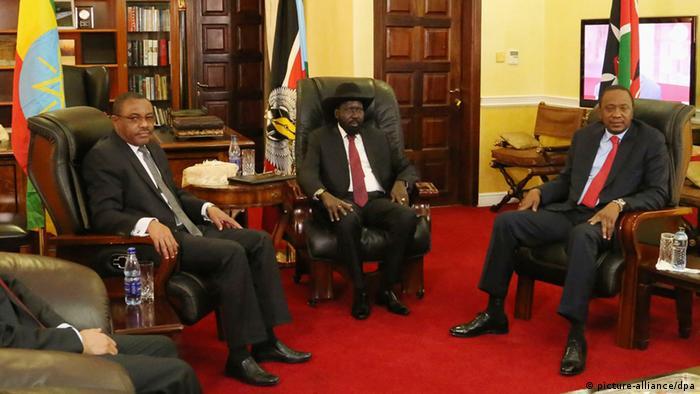 Äthiopiens Premierminister Hailemariam Desalegn, Südsudan Salva Kiir und Präsident Kenias Präsident Uhuru Kenyatta