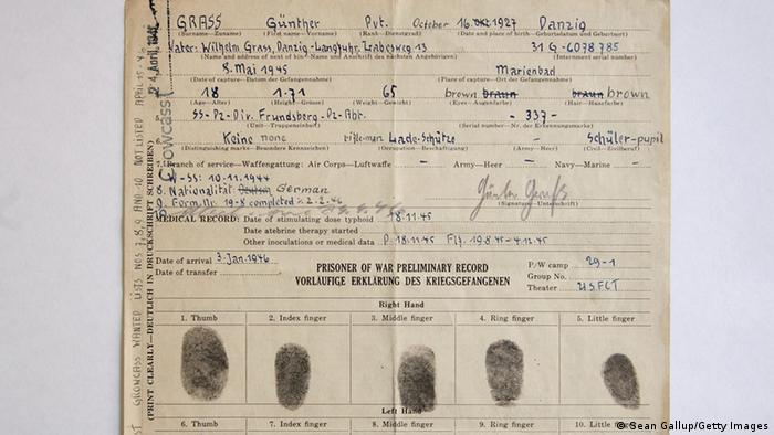 Bildergalerie Günter Grass Waffen SS US Dokument