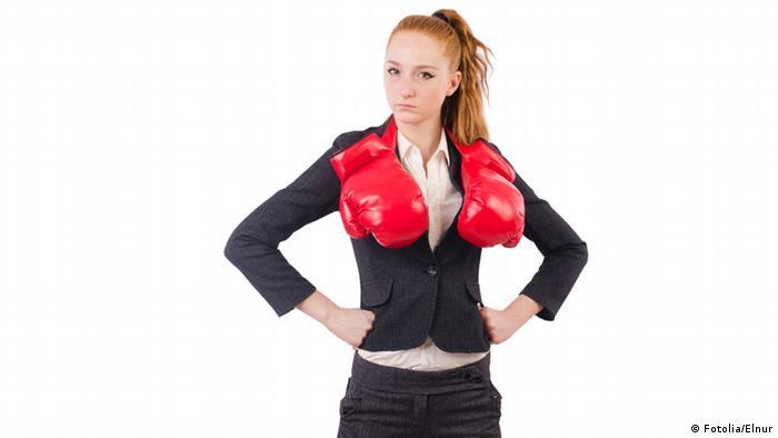 Business Frau Boxhandschuhe