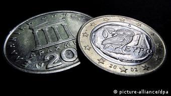 Griechenland Symbolbild Drachmen und EURO