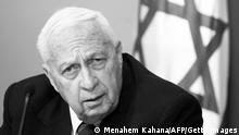 JERUSALEM, -: (FILES) -- A picture dated 16 November 2005 shows Israeli Prime Minister Ariel Sharon during a press conference at his office in Jerusalem. Former Israeli prime minister Ariel Sharon's condition has worsened, medical sources told AFP, 23 July 2006, more than six months after he fell into a coma after sufffering a massive stroke. AFP PHOTO/MENAHEM KAHANA (Photo credit should read MENAHEM KAHANA/AFP/Getty Images)