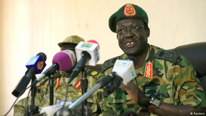 South Sudan army chief James Hoth Mai speaks to media
