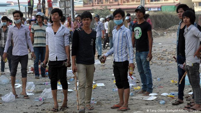 Protest Textilarbeiter in Kambodscha