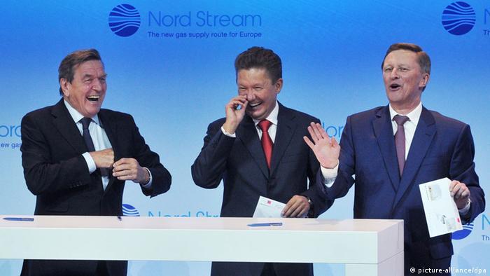 Герхард Шрёдер, Алексей Миллер, Сергей Иванов на открытии второй ветки Северного потока, фото 2012 года