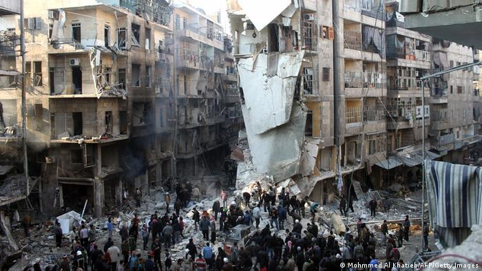 Destroyed houses in Aleppo, Syria.