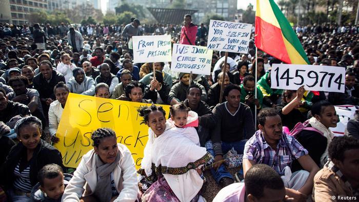 African migrants demonstrating in Jerusalem