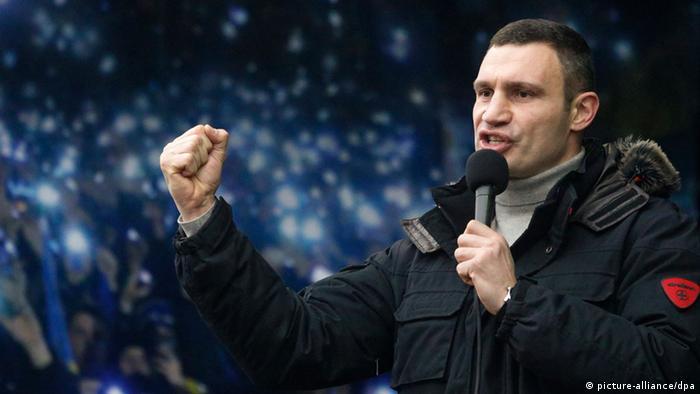 Vitali Klitschko speaking at a demonstration (Photo: EPA/SERGEY DOLZHENKO)
