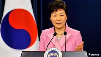 South Korean President Park Geun-Hye speaks during her New Year news conference at the presidential Blue House in Seoul January 6, 2014.
