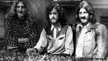 16th September 1970: Three of the four members of British heavy rock group Led Zeppelin in Embankment Gardens, London. They pushed the Beatles down to number two, taking the Best British Group award at the Melody Maker Pop Polls today at the Savoy Hotel. They are, from left to right; singer Robert Plant, guitarist Jimmy Page and drummer John Bonham. (Photo by Ian Showell/Keystone/Getty Images)