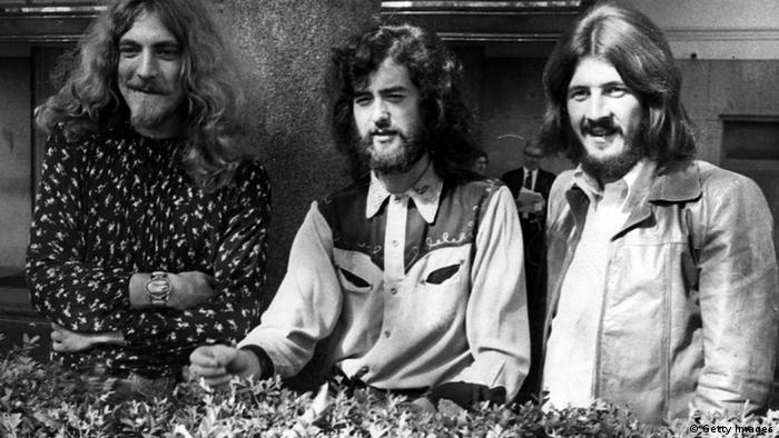 September 1970: Three of the four members of British heavy rock group Led Zeppelin in Embankment Gardens, London.