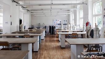 Collection of work tables at an Atelier at Esmod Berlin Masters students draft their designs in this workshop at the International University of Art for Fashion Photo: Natalie Toczek