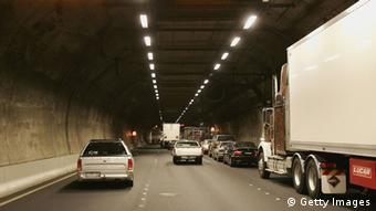 Cars travel down the Burnley Tunnel in Australia