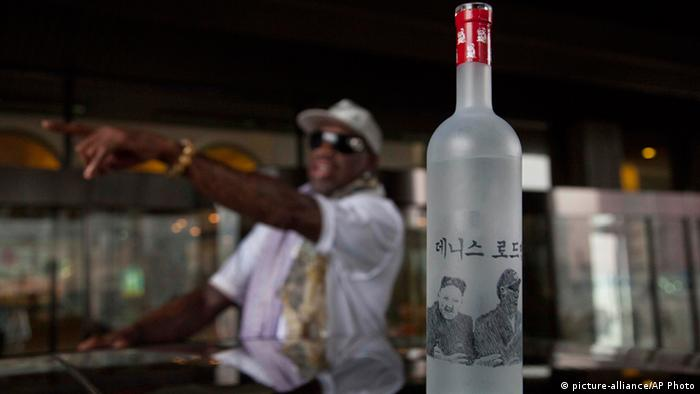 A bottle of vodka with handmade illustrations of Rodman with North Korean leader Kim Jong Un and Rodman's name in Korean sits on the roof of a car outside a Pyongyang hotel on Tuesday, Jan. 7, 2014. (Photo: AP Photo/David Guttenfelder)