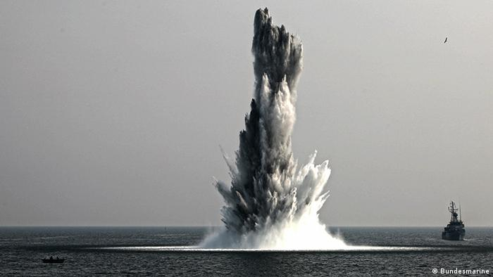 An old, submerged bomb is exploded in the Baltic Sea