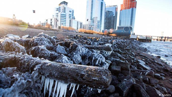 Frozen water on the shore in New York City
