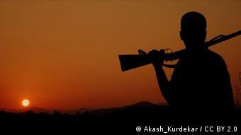 Jäger im Sonnenuntergang