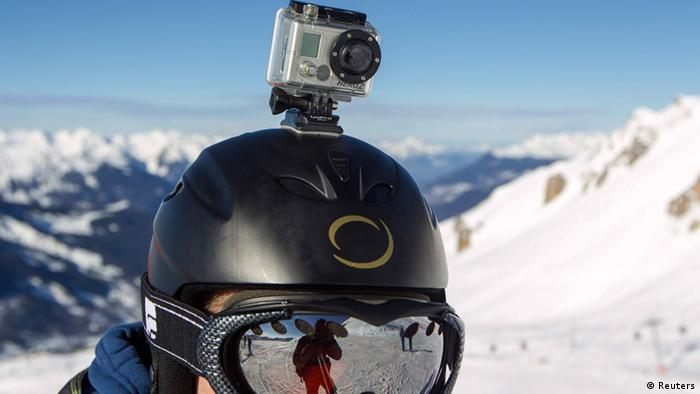 A GoPro camera mounted on a ski helmet