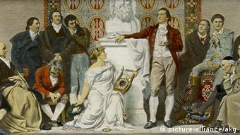 In Weimar in 1803, Wilhem von Humboldt and brother Alexander listen as Goethe (center) holds court
