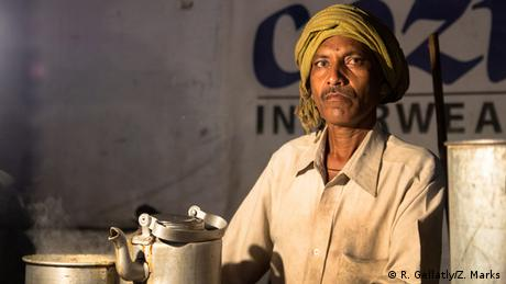 Ganesh, a chai wallah at the train station in Patna, Bihar, brews one of his last pots of the night.