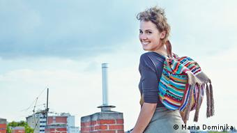 Woman wearing backpack from Simone Simonate's project, Sisa Clipping Up Photo: Maria Dominika Photo:Maria Dominika
