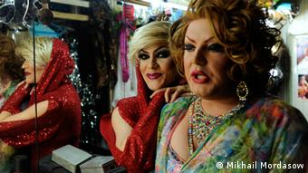 Transvestites at Mayak gay club in Sochi, Russia
