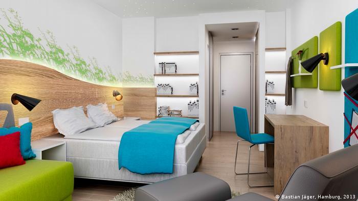 Design blueprint, model of an inside room for the new Hamburg Altona Ronald McDonald House Photo: Bastian Jäger, Hamburg