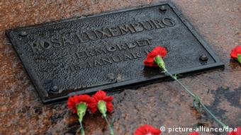 A commemorative plaque at the Luxemburg-Liebknecht bridge in Berlin