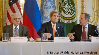 UN Syria Envory Lakhdar Brahimi, Secretary of State Kerry, and Russian Foreign Minister Lavrov in Paris