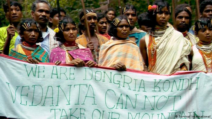 Members of India's Dongria Kondh tribe at a rally