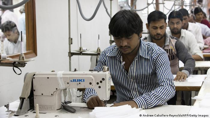 Workers at a textile factory in India