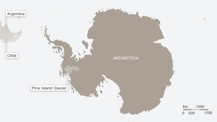 Map of Pine Island Glacier, Antarctica