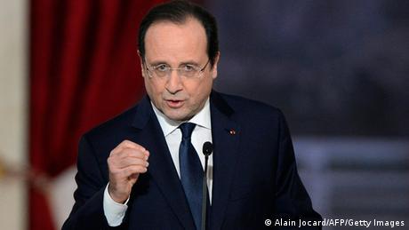 Frankreis Präsident Hollande bei einer Pressekonferenz in Paris.