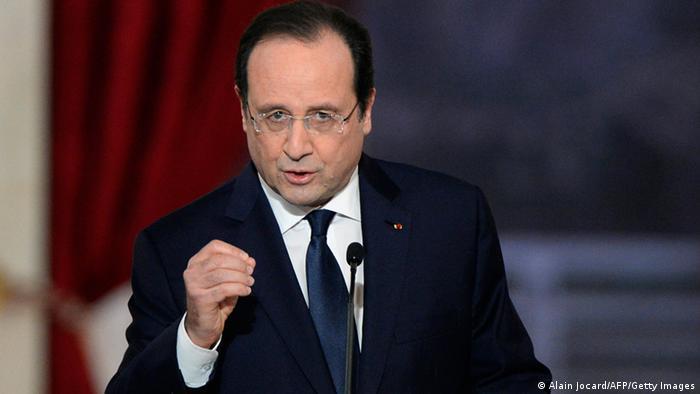 Франсуа Олланд во время пресс-конференции 14 января 2014 года