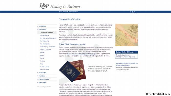 Screenshot der Internetsite henleyglobal.com