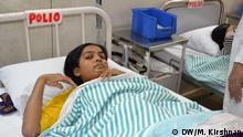 Indien Gesundheit Kinderlähmung Polio Patient in Delhi