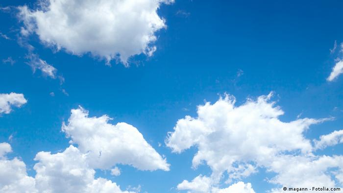 A symbolic picture of white clouds in a blue sky
