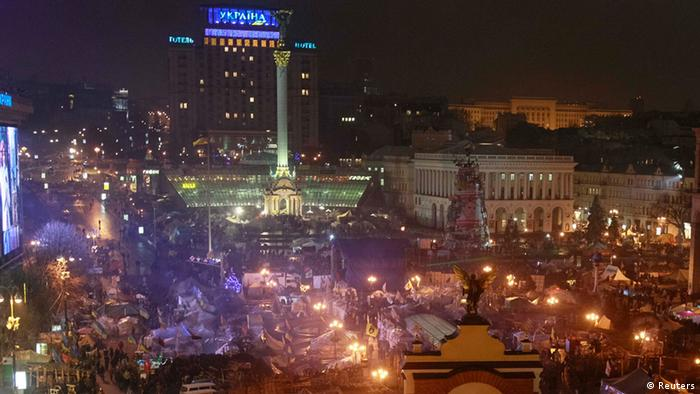 A general view of Independence Square where the pro-EU demonstrators are holding a rally in Kiev January 15, 2014. (Photo via REUTERS/Gleb Garanich)