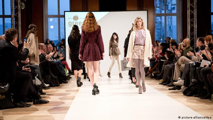 Models on the catwalk in the Green Showroom at Berlin Fashion Week in January 2014, Copyright: Jörg Carstensen/dpa