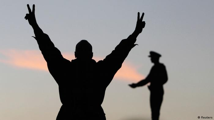 A man raises his arms in celebration after Egypt's constitution is approved Photo: REUTERS/Mohamed Abd El Ghany