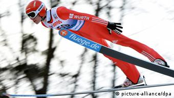 Andreas Wellinger of Germany in action during a training session for the FIS Ski Jumping World Cup at the Adam Malysz Ski Jump in Wisla, Poland, 16 January 2014. Photo: EPA