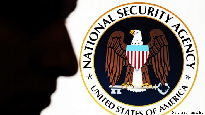 NSA logo, profile of a face