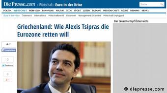 Το δημοσίευμα στην ιστοσελίδα της αυστριακής εφημερίδας